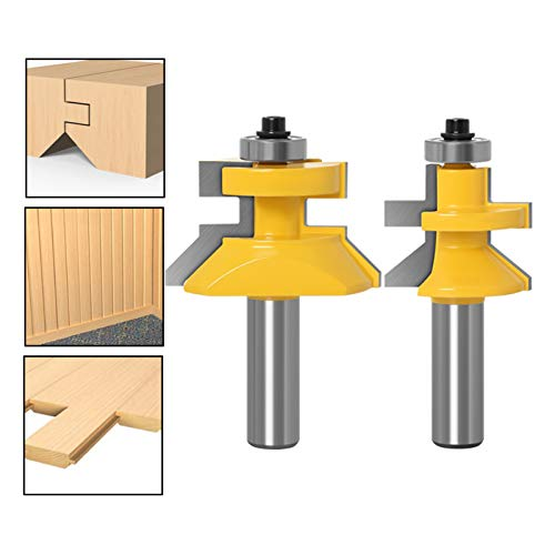 Haodasi 2pcs Matched Tongue & Groove Router Bits, 1/2 Inch Shank Wood Tenon Milling Cutter Set for Woodworking Tools