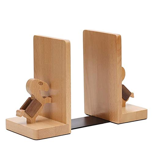 Duurzaam Solid Wood Book Stand By Book Stand, Wooden Book End Decoration Book Shelf, Desk Book Storage ornament (Color : Wood color)