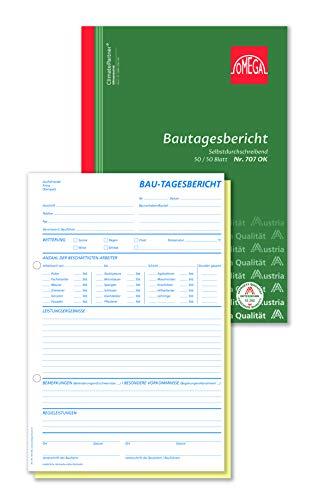 Omega Bautagesbericht SD A4 hoch 50 x 50 Blatt Papierfolge, weiß/gelb