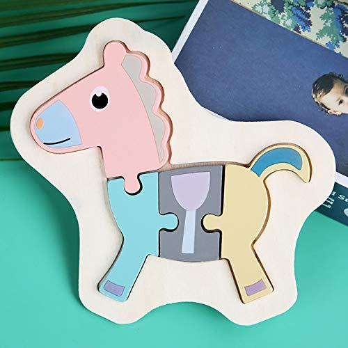 Holzpuzzle 3D Kinder, Tier Steckpuzzle Holz Spielzeug für Kinder 1 2 3 Jahre,...