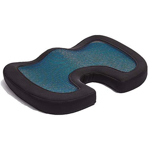 Seat Cushion for Gel Memory Foam, Orthopedic Pain Relief for The Coccyx Tailbone Lower Back and Sciatica | Relaxing Yoga & Meditation | Lightweight & Portable | Office Chair Home and Car Use