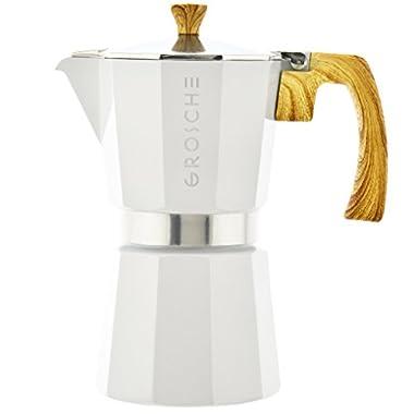 GROSCHE Milano Moka Stovetop Espresso Coffee Maker (6 cup/9.3 oz, White)