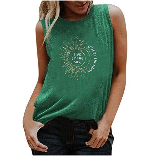 VEMOW Camisola Chaleco sin Mangas para Mujer con Cuello Redondo, Moda Sexy Camiseta de Tirantes de Béisbol con Estampado de Moda Suelto Informal Camisetas de Playa de Verano(B Verde,M)