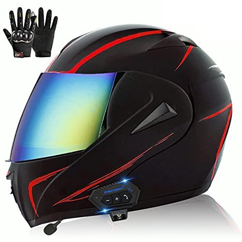 Bluetooth Casco Moto Modular ECE Homologado, Casco de Moto Scooter Integrado con Doble Visera Transpirable y Cómodo Cascos de Motocicleta para Adultos Mujeres y Hombres