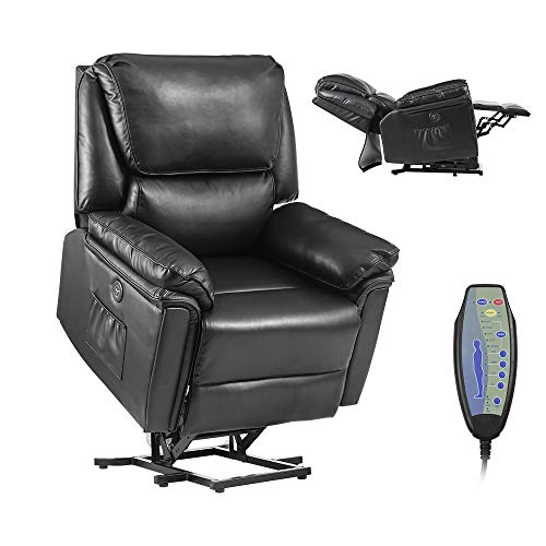 Electric Power Lift Recliner Chair – Massage and Lumbar Heating for Elderly,Senior,Ergonomic Lounge Chair, Reclining Sofa for Living Room,USB Charge & Remote Control (Pu Leather - Black)