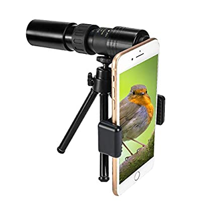 CameCosy New Monocular Telescope(2020),10-300X40mm Super Zoom Monocular Spyglass[Day & Low Night Vision]Portable Binoculars with Smartphone Clip & Tripod for Birdwatching, Hunting, Camping,Sightseeing from DLseego