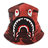 Bape Blood Shark Red Camo Neck Gaiter Warmer Windproof Mask Dust Face Clothing Free UV Face Mask
