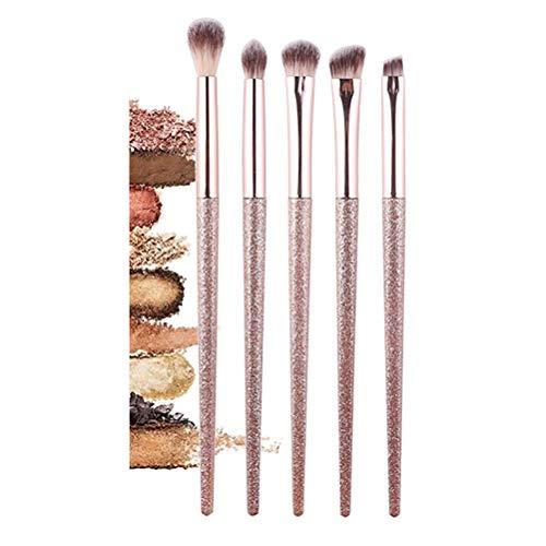 Pinceau de maquillage pour les yeux, 5 pinceaux de maquillage ensemble fibre portable poignée en métal pinceau fard à paupières crayon à sourcils eyeliner brosse