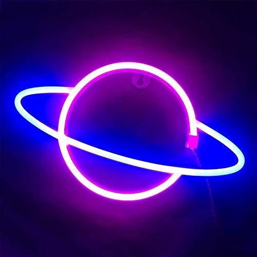 Neonlicht 3D Wanddeko Lampe Neon Signs LED Beleuchtung Nachtlichter für Bedroom Beleuchtung Party Bar Dekoration Pub Kinder Mädchen Zimmer (Planet Rosa)