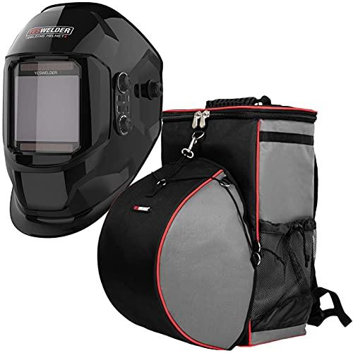 YESWELDER Large Viewing Screen True Color Solar Power Auto Darkening Welding Helmet&Welding Backpack Extreme Gear Pack with Helmetcatch