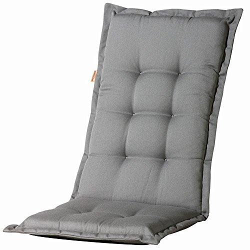 Madison 2 Stück Dessin Panama Sitzpolster, Sitzauflage für Stapelsessel niedrig, Niedriglehner 75% Baumwolle, 25% Polyester, 100 x 50 x 4 cm, in grau