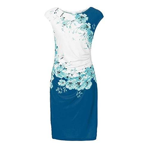 N\P Sommerkleid für Damen, schmal, Rundhalsausschnitt, Tasche, Hüftdruck Gr. X-Large, blau