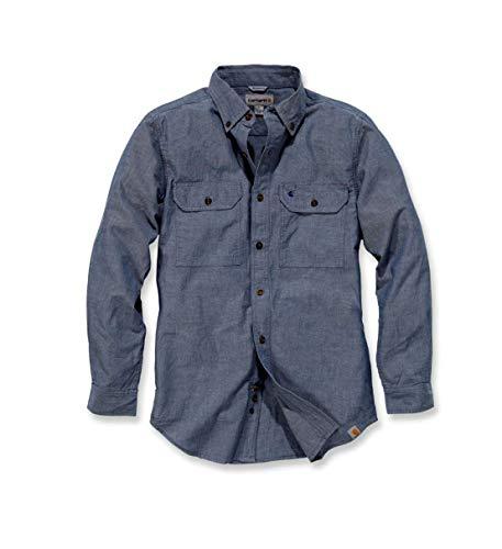 Carhartt S202 L/S Fort Solid Shirt - Arbeitshemd - Freizeithemd (XL, Blau)