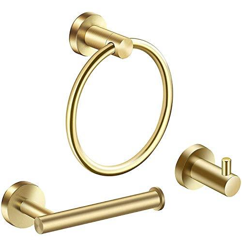 Semoic - Juego de accesorios de baño (3 piezas, acero inoxidable cepillado)