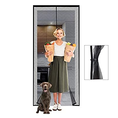 Magnetic Screen Door 38×83 Reinforced Fiberglass Mesh Curtain Front Door Screen with Heavy Duty Mesh Curtain and Full Frame Hook&Loop,- Fits Door Size up to 38×83 Inch