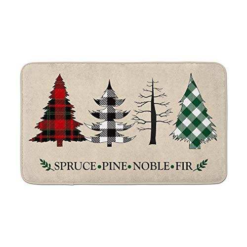 AVOIN Buffalo Plaid Christmas Trees Decorative Doormat, 18 x 30 Inch Winter Holiday Non-Skid Floor Mat Switch Mat Indoor Outdoor Home Garden