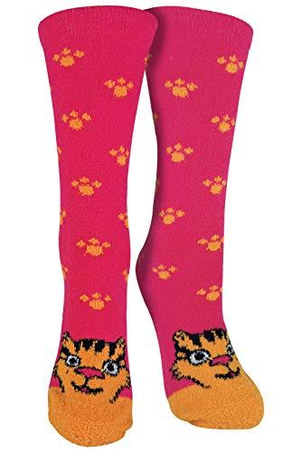 sock snob - 1er Pack Antirutsch Abs Rutschfest Kuschelsocken/Socken mit Cartoon Tiere Motiv (37-42 EU, TIGER)