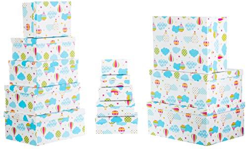 Brandsseller Geschenkbox Aufbewahrungsbox Kartenkarton mit Deckel - Stabiler Karton - 13er Set in absteigender Größe - Ballon und Wolken