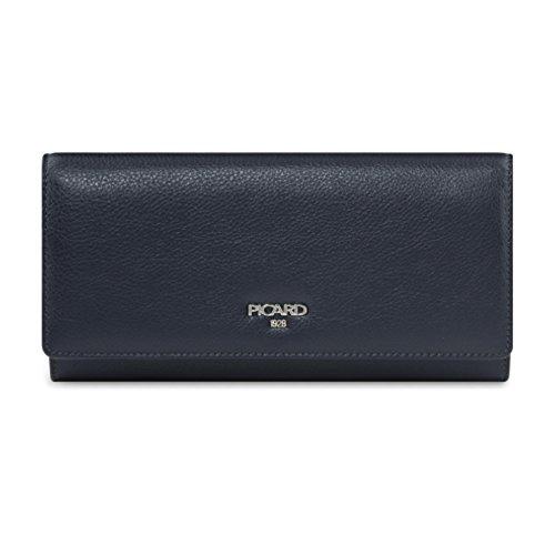 PICARD Bingo 8485 Geldbörse Damen Portemonnaie Leder 20x10x3 cm (BxHxT), Farbe:Ozean blau
