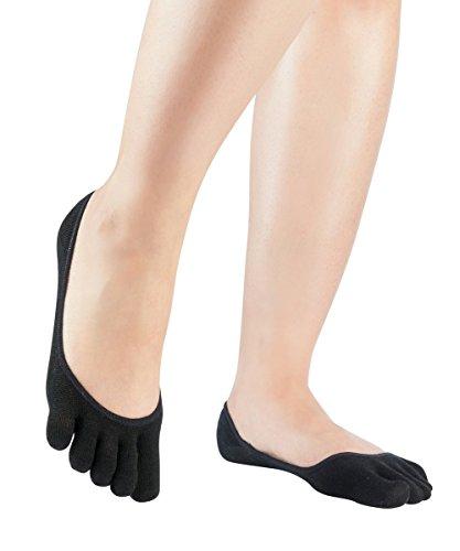 Knitido Damen Seiden-Füßlinge Silkroad Footlets, Zehen-Füßlinge aus Seide, Größe:39-42, Farbe:Black