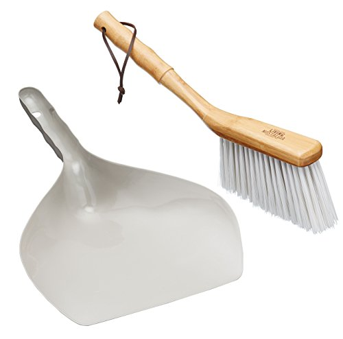 Living Nostalgia LNDPBSET Traditional Dustpan and Brush Set, Metal, Grey, 35 x 21,5 x 7,5 cm