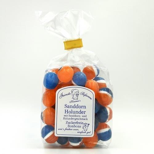 Zuckerfreie Sanddorn-Holunder Bonbons, 120g