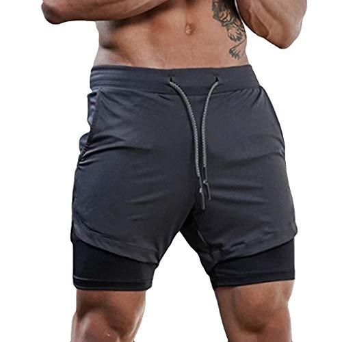 EUCoo Shorts de Course 2-en-1 pour Hommes Séchage Rapide Respirant Active Training Exercise Jogging Shorts de Cyclisme