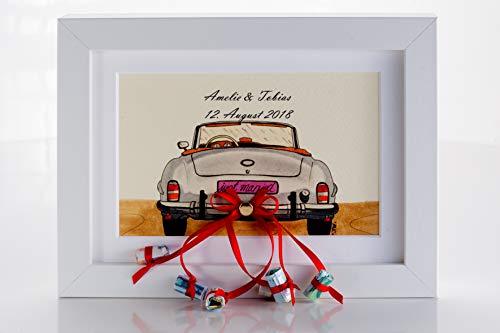 Personalisierbares Hochzeitsgeschenk Auto im Bilderrahmen Geldgeschenk