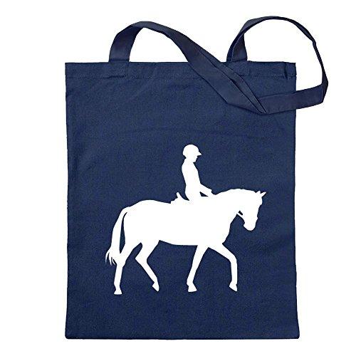Kiwistar Pferdesport Springreiten Tragetasche Baumwolltasche Stoffbeutel Umhängetasche Langer Henkel