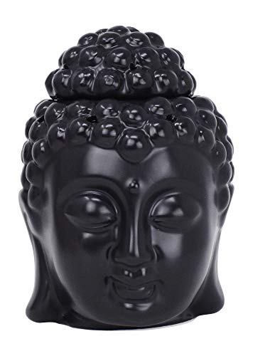 Mudra Crafts Oil Burner, Candle Warmer, Black Buddha Statue Decor for Scented Wax, Fragrance Melt, Essential Oil