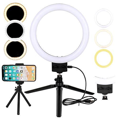 Flybiz LED Luz de Anillo con Trípode Palillo de Selfie, Mini luz de Anillo LED de Escritorio Regulable de 10W 2800K-5500K, Video de Youtube y Maquillaje Selfie, Kit de Luces de Anillo