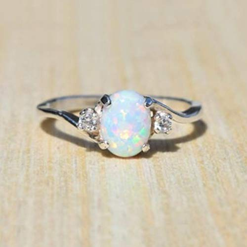 NAOMI Exquisite Women's 925 Sterling Silver Ring Oval Cut Created-Fireopal Diamond Jewelry Birthday Proposal Gift Bridal Engagement Party Band Rings Size 5-11 White 9