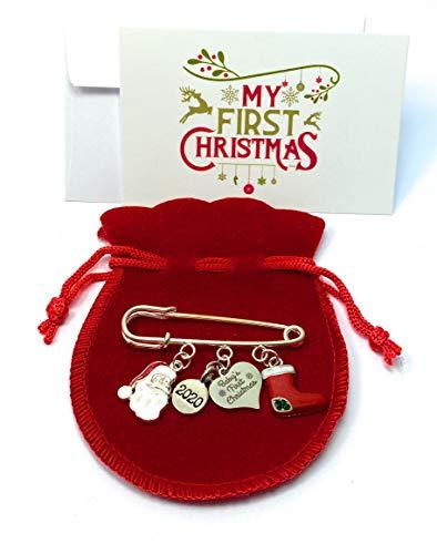 Libby's Market Place Breloque souvenir pour le premier Noël 2020 avec 3 options de cadeau et carte cadeau (pochette cadeau en velours )