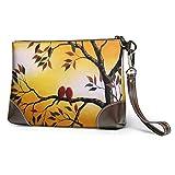 GLGFashion Carteras de cuero para mujer Floral Bird Weed-9 Cosmetic Bag for Women Adorable Roomy Makeup Bags Travel Toiletry Bag Accessories Organizer