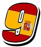 Biomar Labs Número 9 Bandera Nacional España Spain Calavera Vinilo Adhesivo Pegatina Coche Auto Motocross Moto Sport Start Racing Tuning N 289