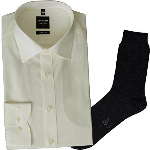 OLYMP Herrenhemd Level Five, Body fit, extra Langer Arm, New York Kent, Creme + 1 Paar hochwertige Socken