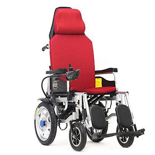 DAZHONG Carrozzina elettrica per Uso intensivo con poggiatesta, Sedia a rotelle Pieghevole e Leggera, Adatta per Anziani, disabili e disabili,12Alithiumbattery