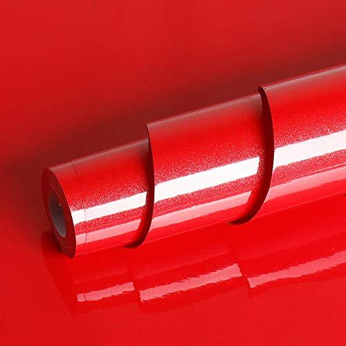 Livelynine 40CMX10M Pellicola Adesiva Rosso Carta Adesiva Rossa Lucida Carta da Parati Autoadesiva Cucina Cameretta Adesivi per Mobili Decorativi Rivestimento Parete PVC Impermeabile Lavabile