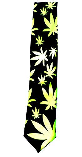Evil Wear Cannabis Krawatte Anzug Schlips schwarz hell-grün
