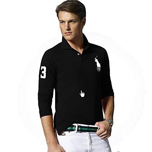 Ralph Lauren Langarm Poloshirt Big Pony Custom Fit (XL, Schwarz)