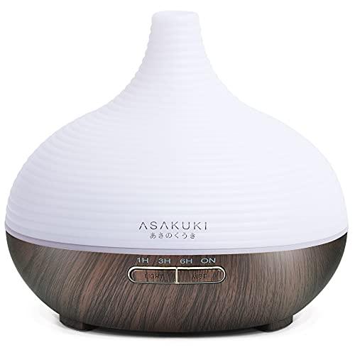 ASAKUKI 300ml Aroma Diffuser, 23dB Ultra Leise Luftbefeuchter Ultraschall für Schlafzimmer Kinderzimmer, BPA-Free Öle Diffusor Aromatherapie mit 7 Farben LED, Auto-Abschaltung