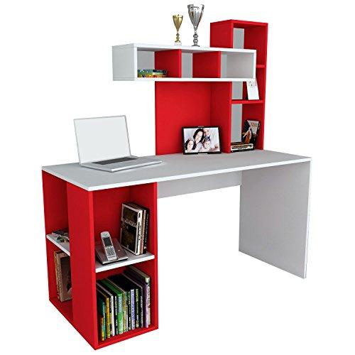 Alphamoebel 1186 Coral Schreibtisch Computertisch Arbeitstisch Bürotisch Laptoptisch PC-Tisch, Weiß Rot, Holz, integriertes Regalelement, viel Stauraum, große Arbeitsfläche, 140 x 60 x 153,8 cm