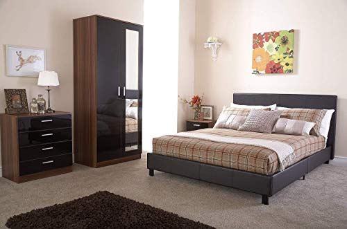 Right Deals UK Bed-In-A-Box 5ft King Size Bed - Brown Faux Leather
