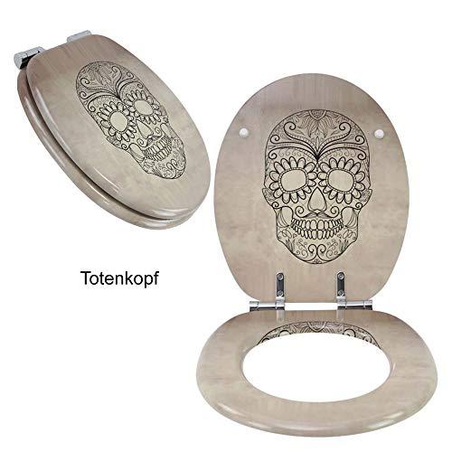 Toilettensitz WC-Sitz mit Absenkautomatik und verzinkten Scharnieren - Klobrille Klodeckel Toilettendeckel aus MDF … (Totenkopf)