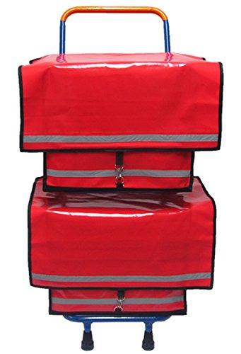 Zeitungsroller Multi2 mit Zwei roten Zeitungstaschen aus LKW-Plane, Vollgummireifen, Zustellerbedarf