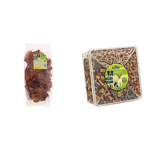 Dehner Hundesnack, Schweineohren, 25 Stück, 1050 g & Hundesnack, Snackbox Jumbo, 4 Sorten-Mix, 1.2 kg
