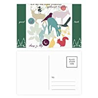 鳥の鹿の花自然環境 グッドラック・ポストカードセットのカードを郵送側20個