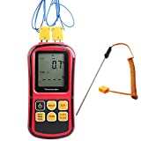Digital Thermocouple Thermometer, Dual-Channel LCD Backlight Temperature Meter Tester with Thermocouple Probe for K/J/T/E/R/S/N Type