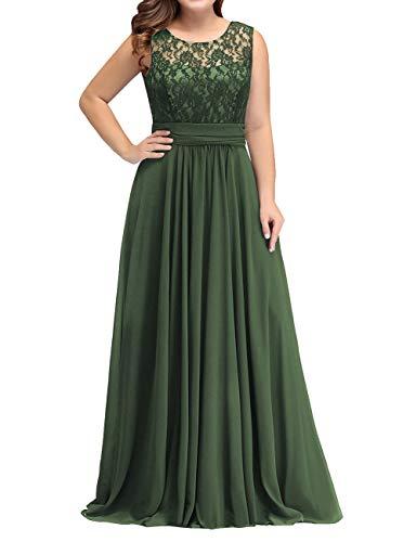 HUINI Abendkleid Damen Spitzen Ballkleid Brautmutterkleider Lang Hochzeitskleid Ärmellos Standesamt Maxikleider Dunkel grün 58