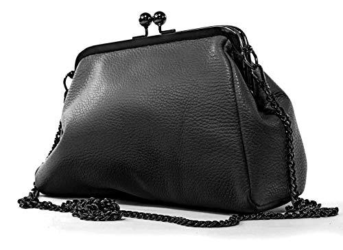 Echt Leder Damentasche Portemonnaie mit Kette Bügeltasche Schultertasche in vielen Farben (schwarz)